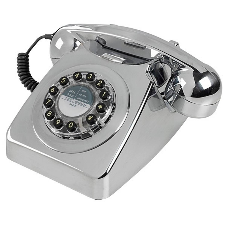Wild & Wolf 746 Retro Telefoon Brushed Chrome