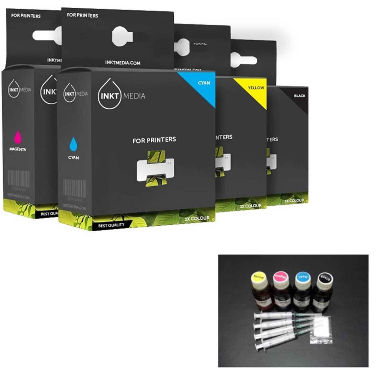 Inktmedia® -Navulinkt - Alternatief voor de Epson set 4x 100ml Navul inkt refill inkt