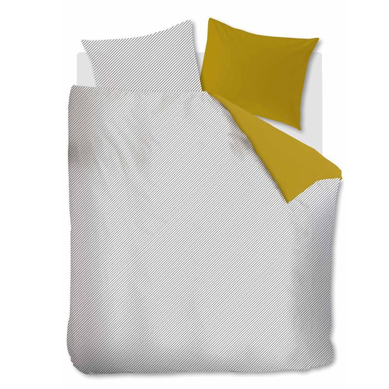 Ambiante Jonna dekbedovertrek - 100% katoen - 2-persoons (200x200/220 cm + 2 slopen) - 2 stuks (60x70 cm) - Geel