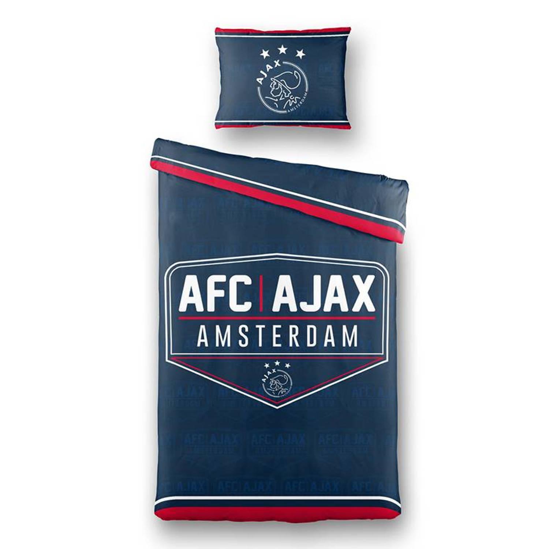 Afbeelding van Ajax dekbedovertrek - 50% polyester - 50% katoen - 1-persoons (140x200 cm + 1 sloop) - 1 stuk (60x70 cm) - Blauw