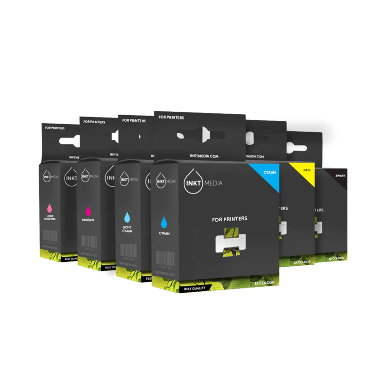 Inktmedia® - huismerk Epson 1x T2431 zwart 1x T2432 cyaan 1x T2433 magenta 1x T2434 geel 1x T2435 lc en 1x T2436 lm