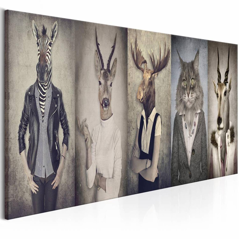 Schilderij Dierenmasker , 5 luik , mens met dierenmasker , 2 maten