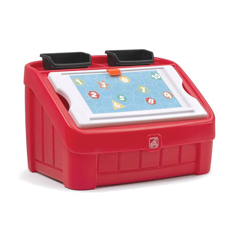 Step2 2-In-1 opbergbox & knutseldeksel 177 liter rood