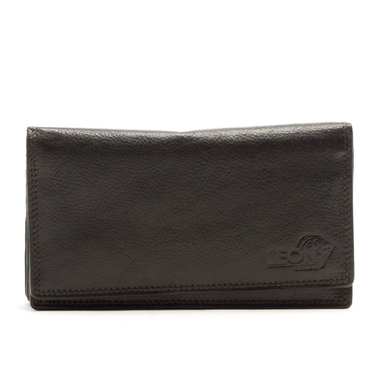 674b9bd42df LeonDesign 16-W1285-11 dames portemonnee donker bruin leer