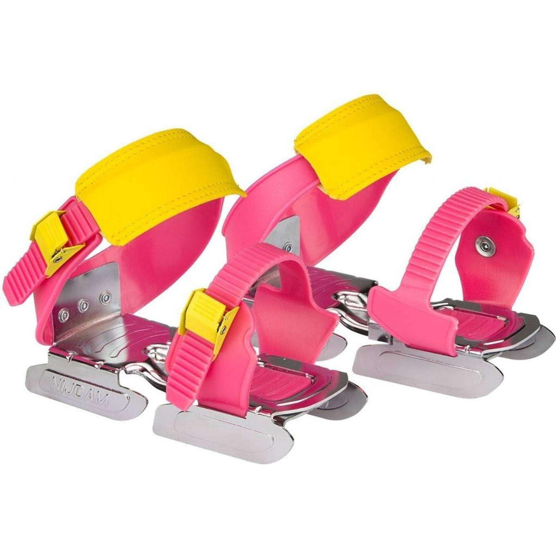 Nijdam Glij-ijzers verstelbaar meisjes roze/geel 24/34