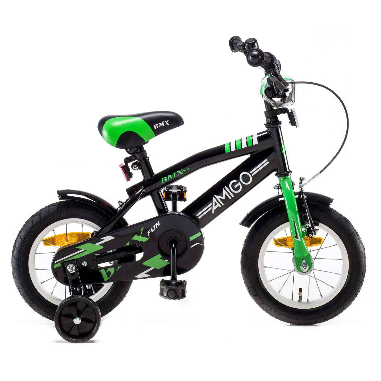 Afbeelding van AMIGO BMX Fun 12 Inch 21 cm Jongens Terugtraprem Zwart/Groen