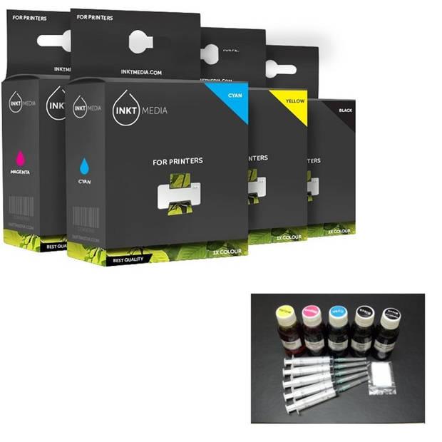 Inktmedia® -Navulinkt - Alternatief voor de Epson set 5x 100ml Navul inkt refill inkt
