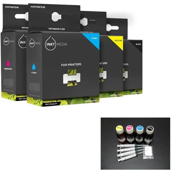 Inktmedia® - huismerk Epson 1x 664 zwart 100ml 1x 664 cyaan 100ml 1x 664 magenta 100ml en 1x 664 geel 100ml navul inkt