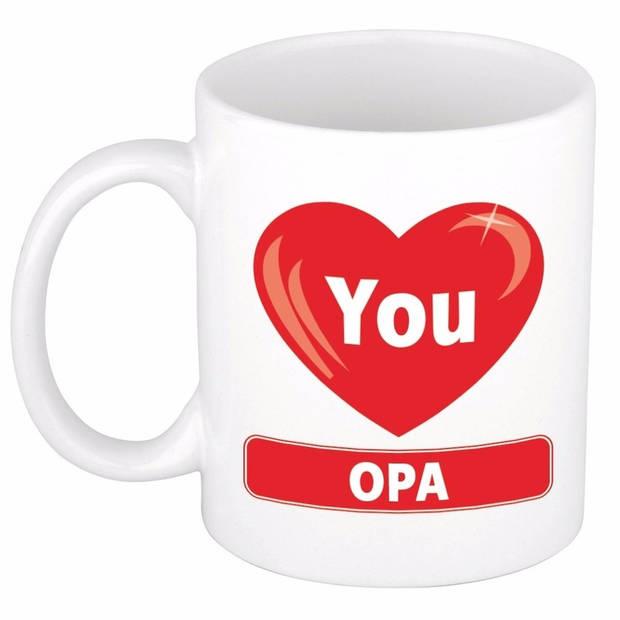 Verjaardag cadeau beker / mok - I Love You Opa - 300 ml keramiek