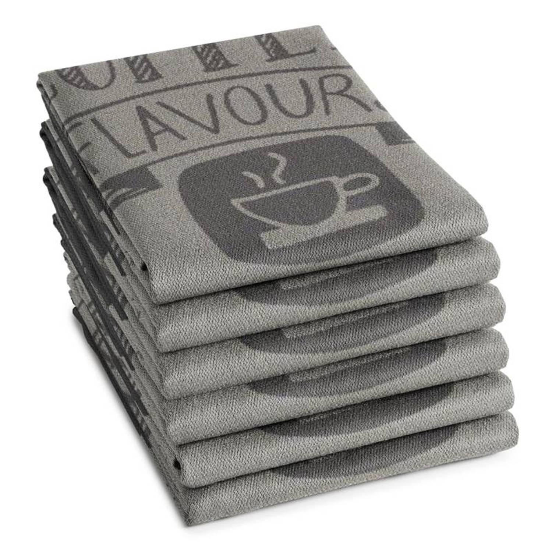 DDDDD Flavours theedoek (set van 6) - 100% katoen - Theedoek (60x65 cm) - Set van 6 - Grijs