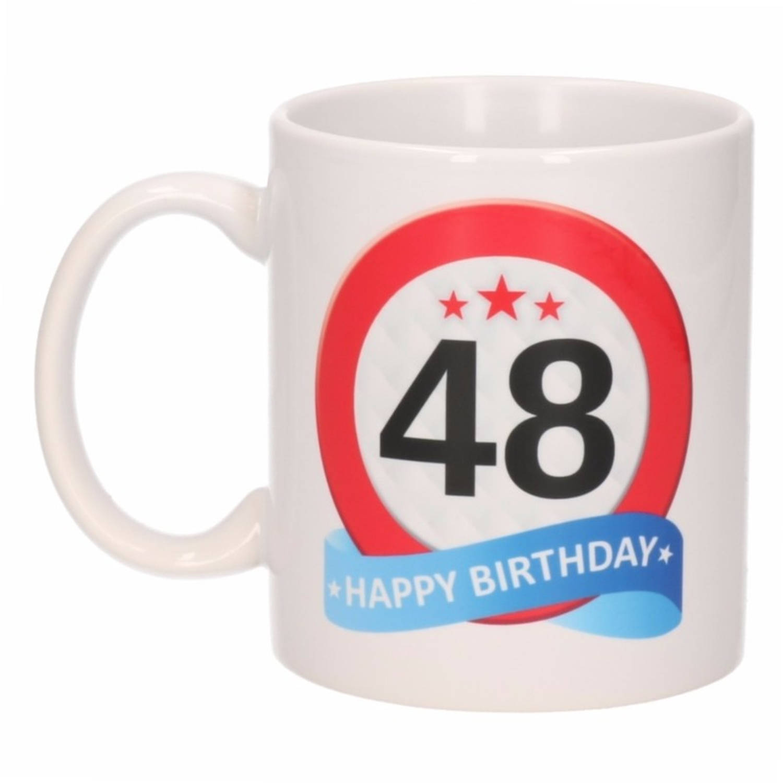 Verjaardag 48 Jaar Verkeersbord Mok Beker Blokker