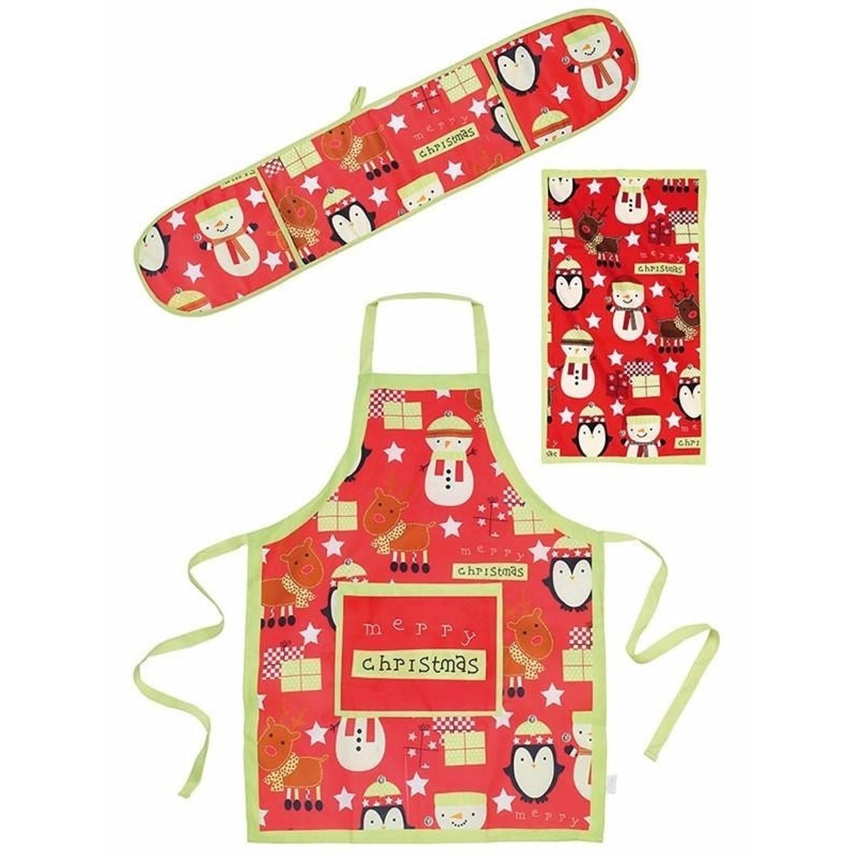 Kerst Funny keukentextiel set 3 delig rood-groen