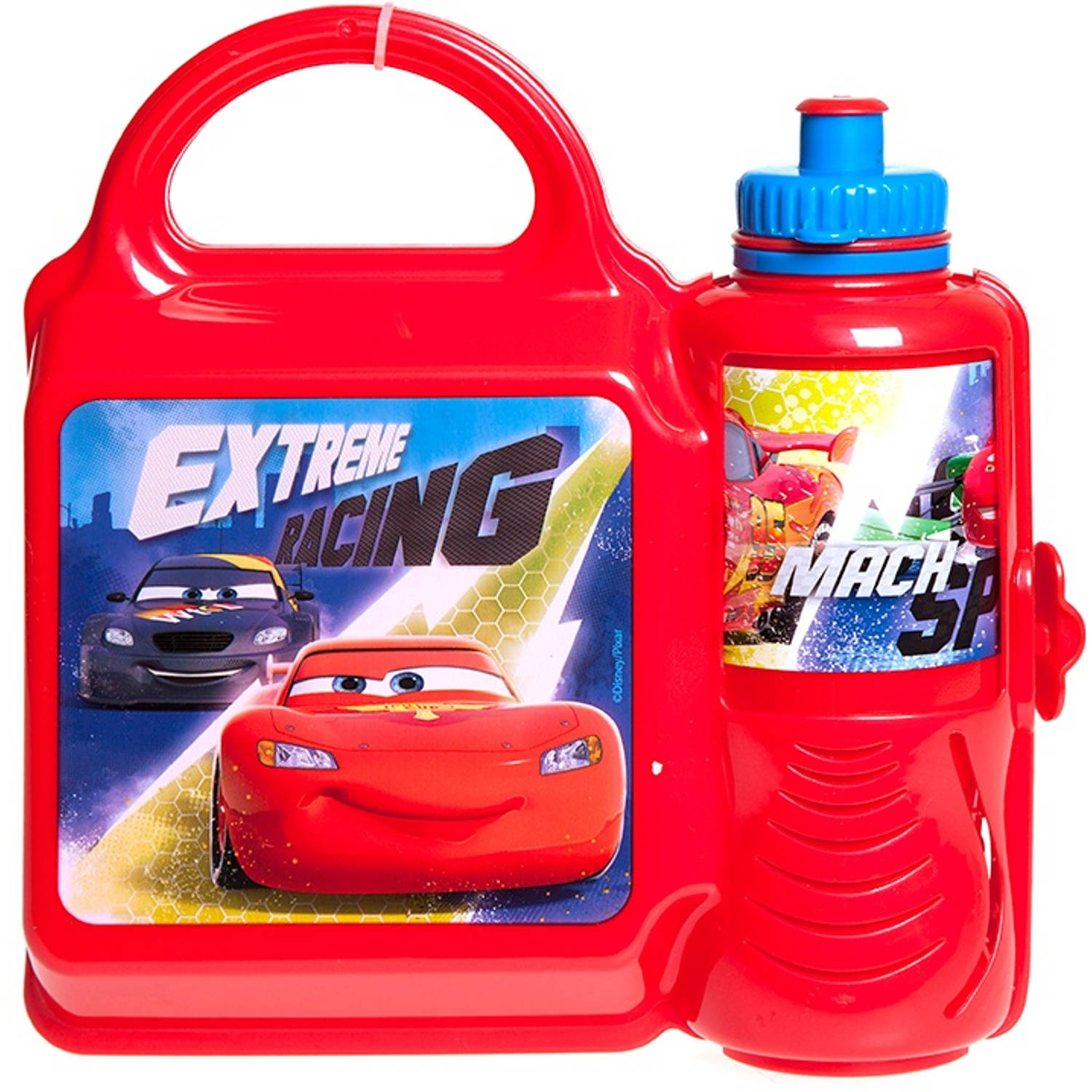 Stor lunchset Cars Extreme Racing broodtrommel & beker rood