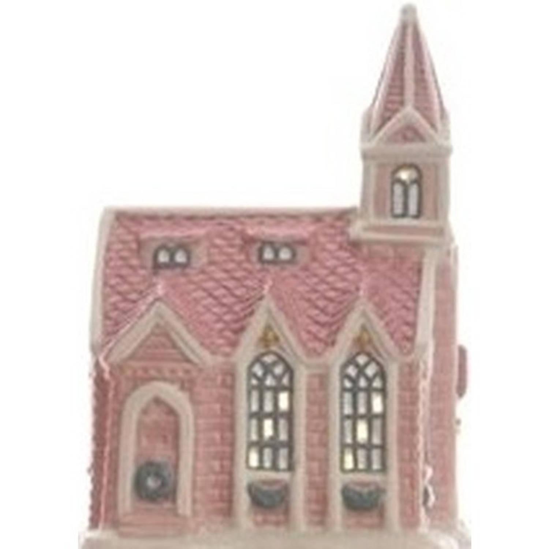 Kerk kerstdorp huisje 10 cm met LED verlichting - kersthuisje