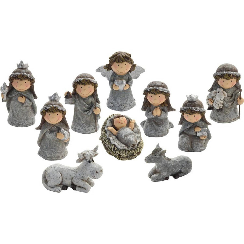 Afbeelding van 10-delige kinder kerststal figuren beeldjes 7 cm - kerstbeeldjes