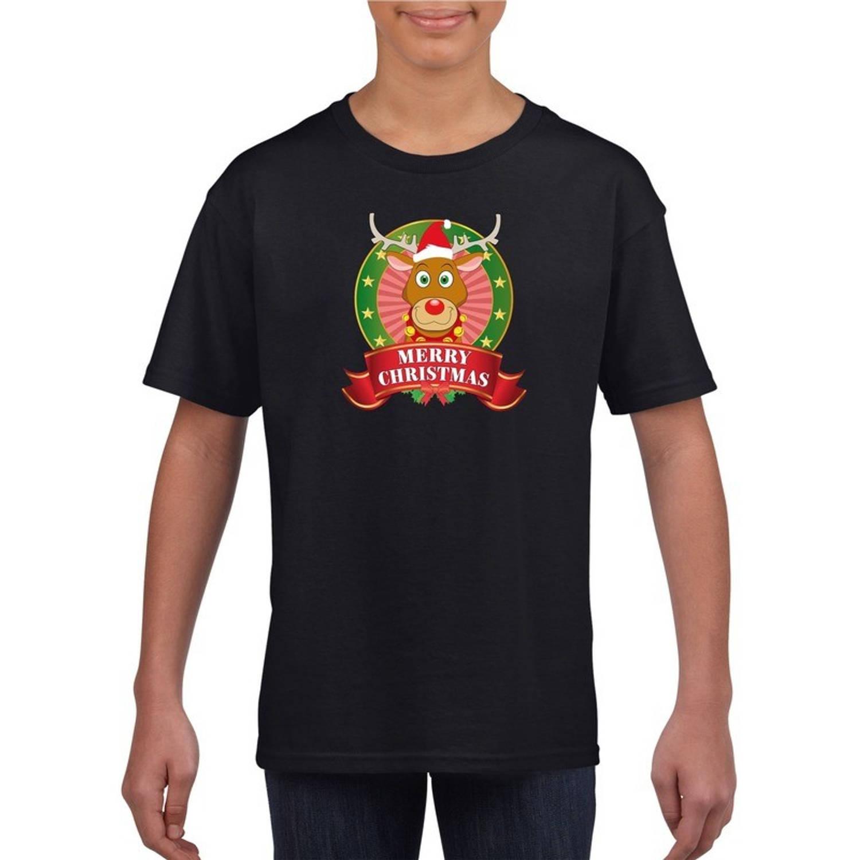 Kerst t-shirt voor kinderen met rendier Rudolf print - zwart - Kerst shirts voor jongens en meisjes S (122-128)
