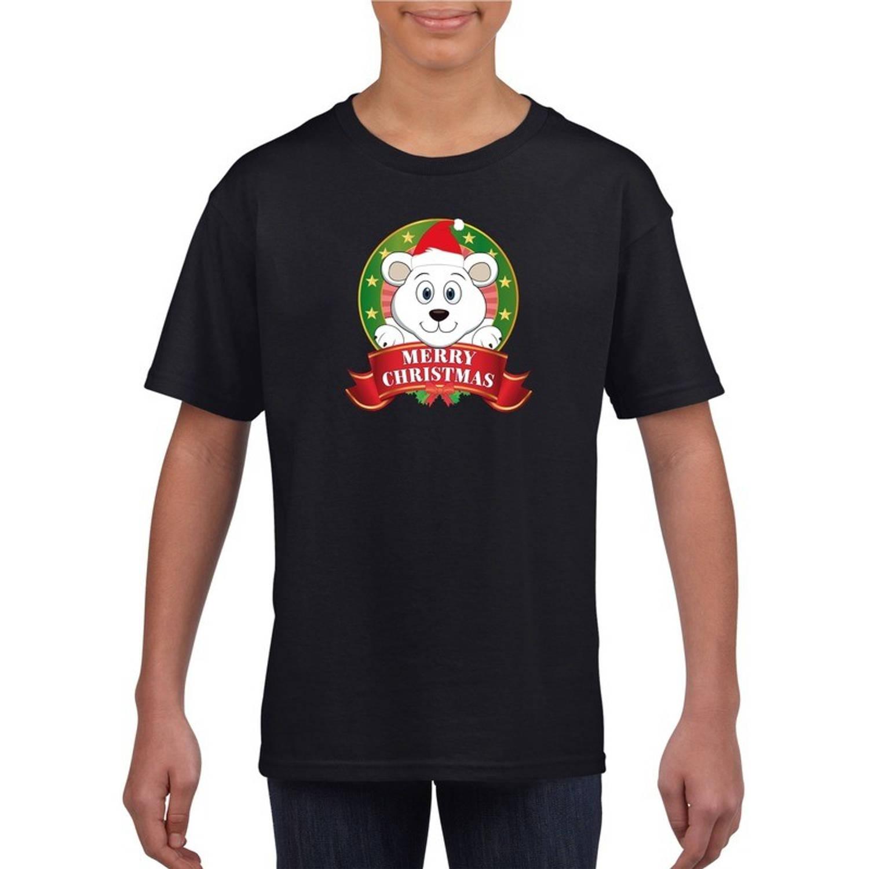 Kerst t-shirt voor jongens met ijsbeer print - zwart - Kerst shirts voor jongens en meisjes M (134-140)