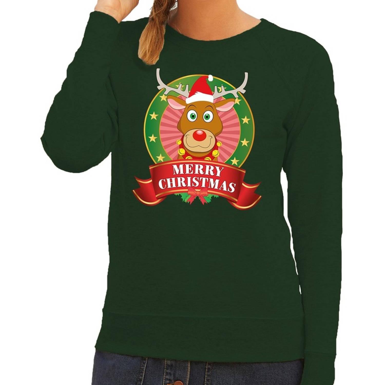 Foute kersttrui / sweater Rudolf - groen - Merry Christmas voor dames M (38)