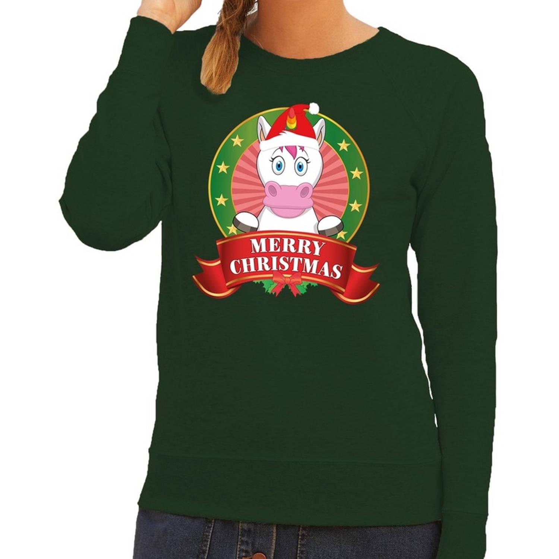 Foute kersttrui / sweater eenhoorn - groen - Merry Christmas voor dames S (36)