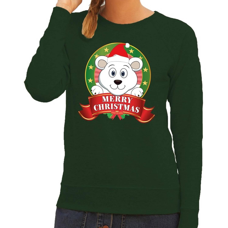 Foute kersttrui sweater ijsbeer groen Merry Christmas voor dames XS (34)
