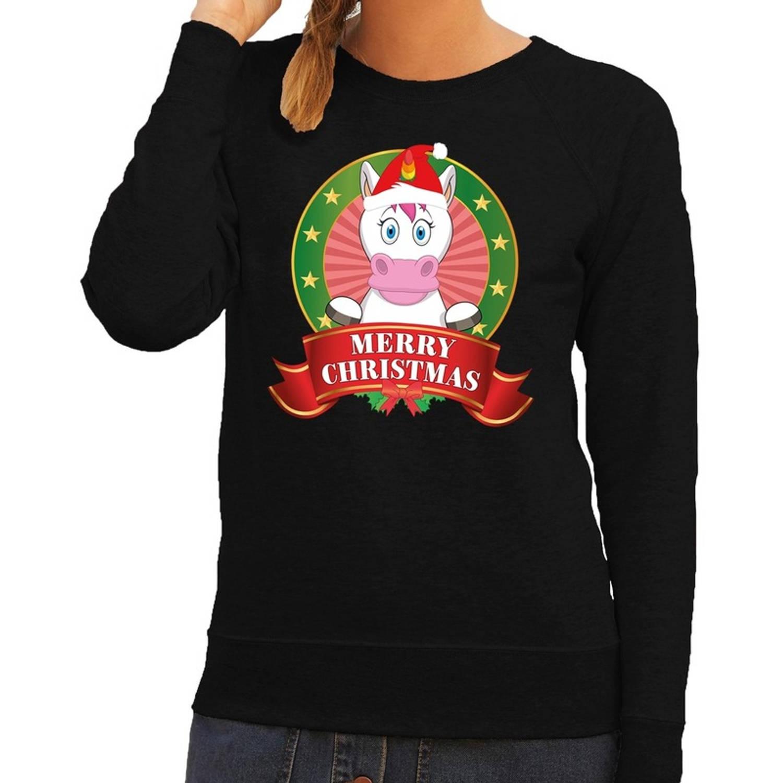 Foute kersttrui / sweater eenhoorn - zwart - Merry Christmas voor dames S (36)