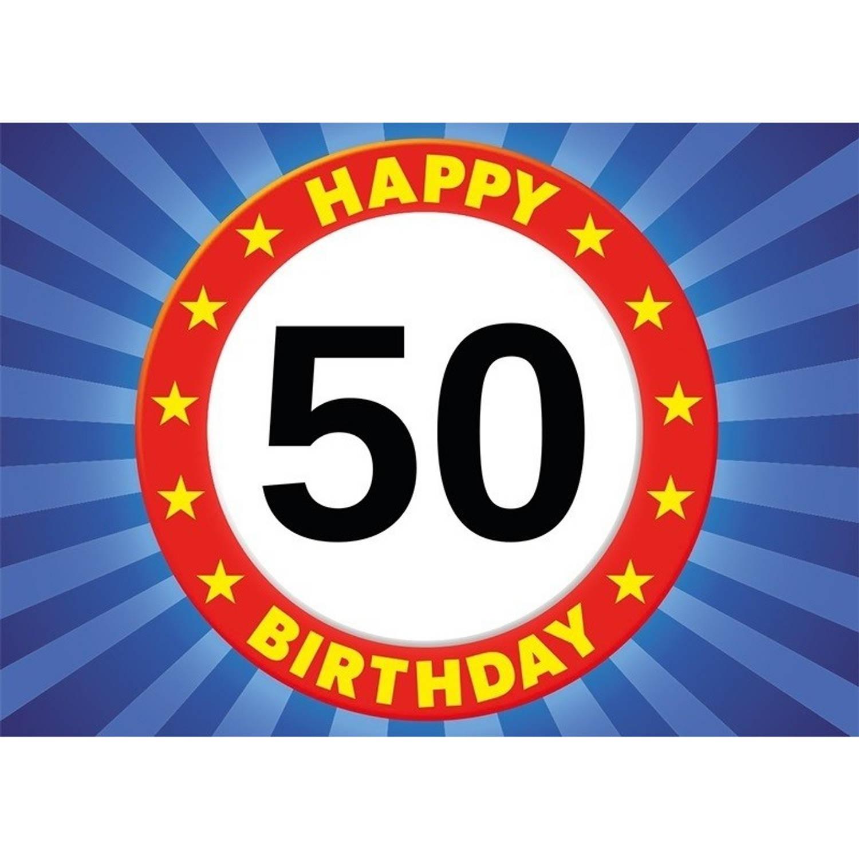Korting 50 Jaar Leeftijd Sticker Verkeersbord 7,5 X 10,5 Cm 50 Jaar Verjaardag jubileum Versiering