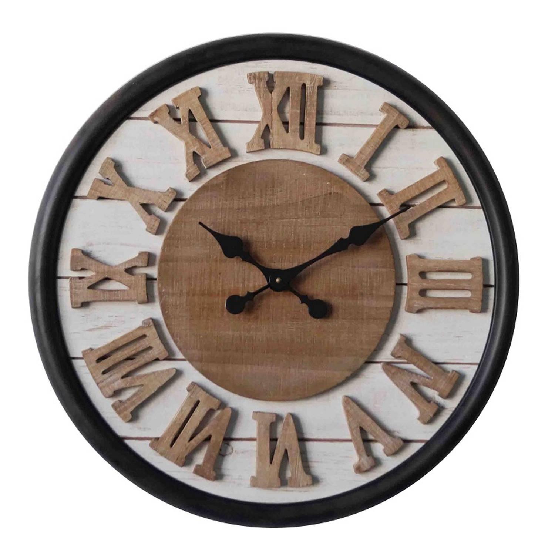 3 Color Round Clock Wood Roman Dia 60x4,5cm