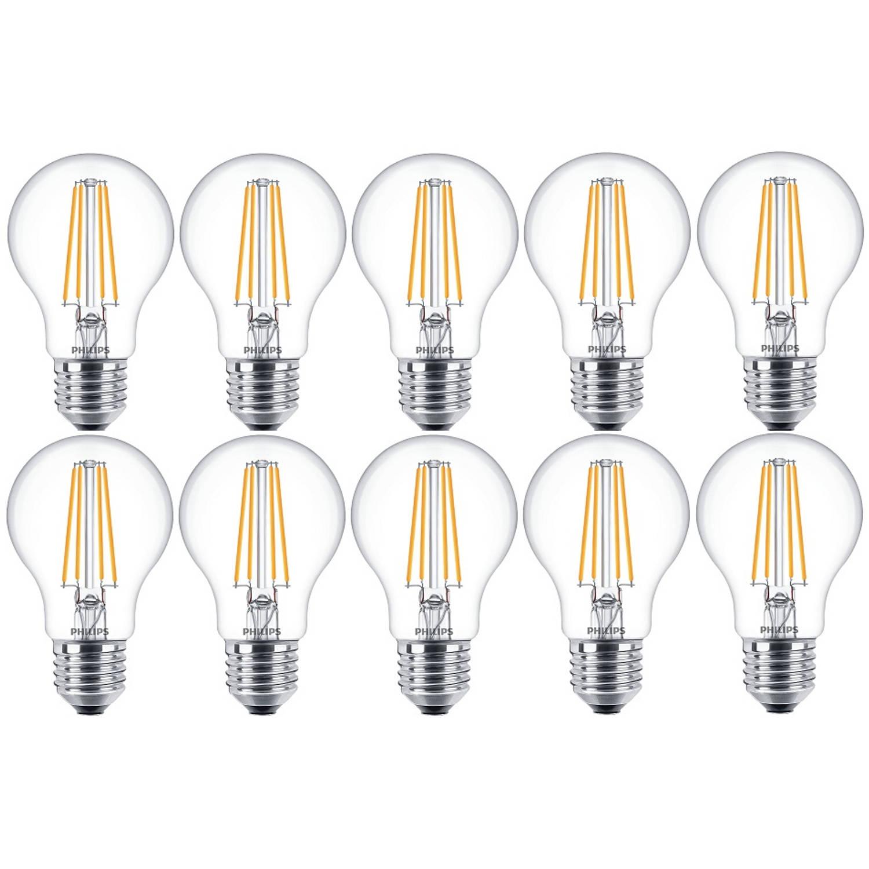 10 stuks - Philips filament LED lamp E27 7-60W 2700K 806lm