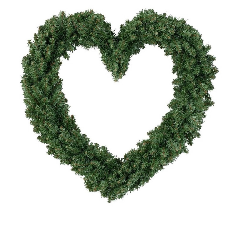 Kerstversiering kerstkrans hart groen 50 cm