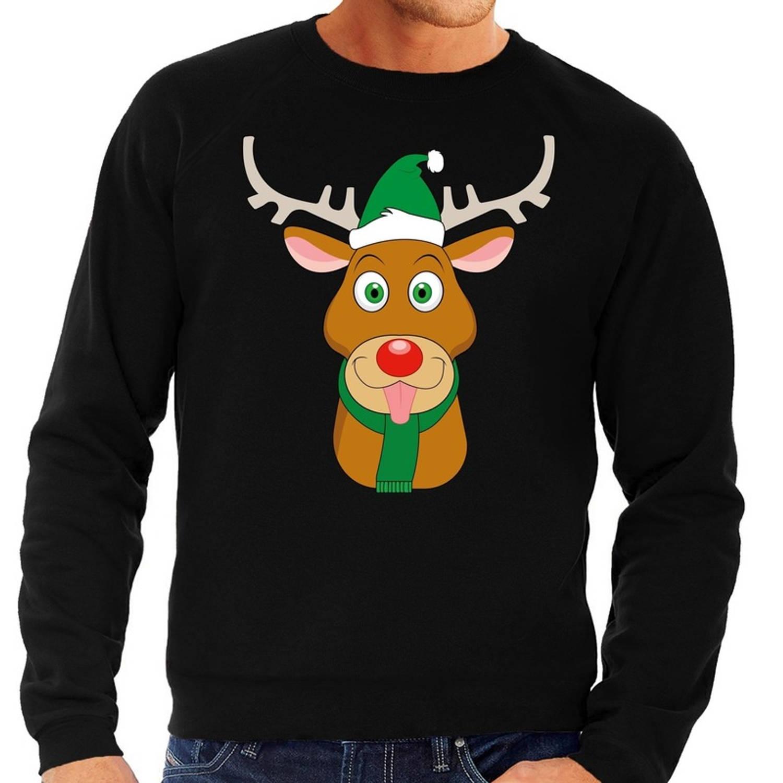 Foute kersttrui / sweater met Rudolf het rendier met groene kerstmuts zwart voor heren - Kersttruien L (52)