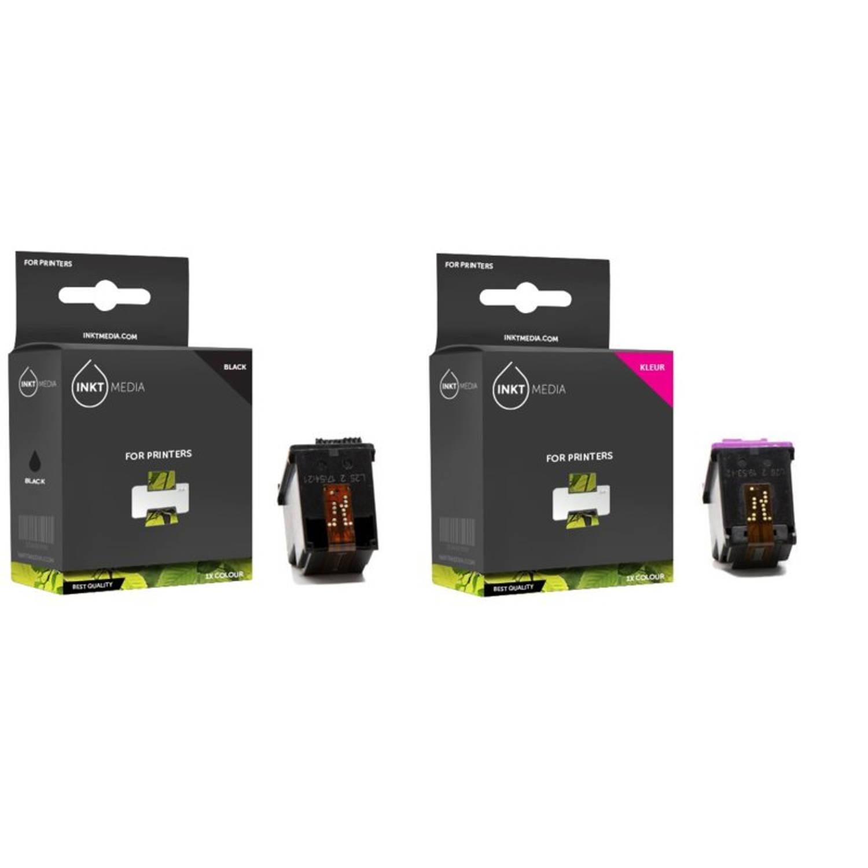 Inktmedia® - Inktcartridge - Alternatief voor de Hp 56 zwart (C6656AE) en Hp 57 kleur (C6657AE) inktcartridge 1x set