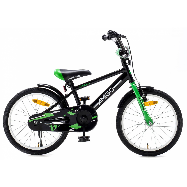 Afbeelding van AMIGO BMX Fun 18 Inch 24 cm Jongens Terugtraprem Zwart/Groen