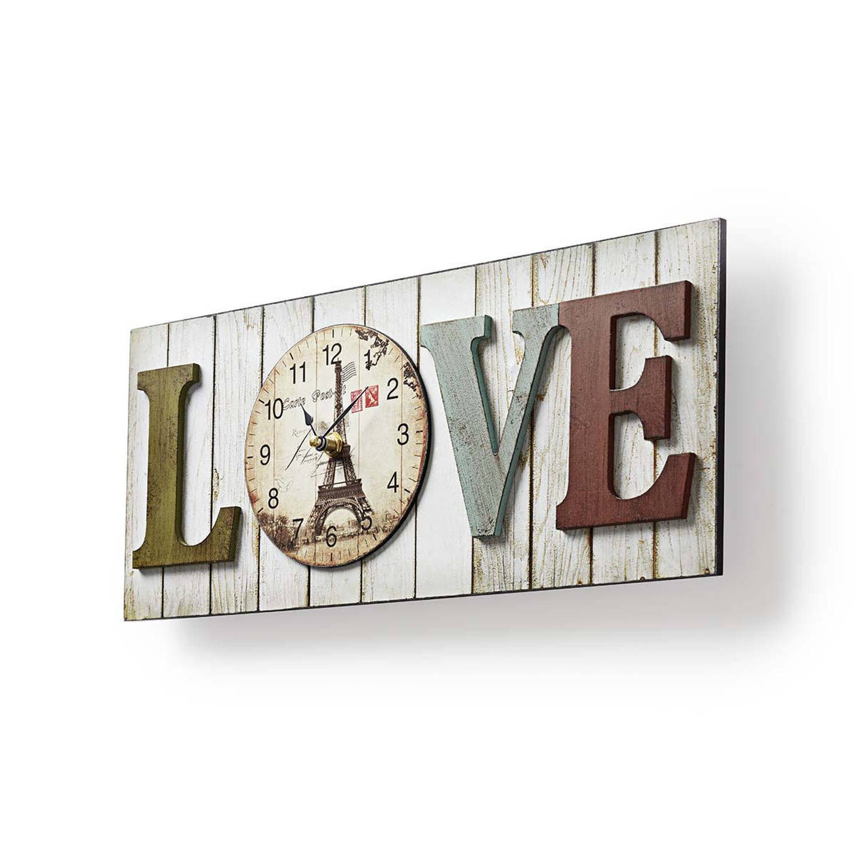 Nedis houtlook design wandklok 'LOVE'