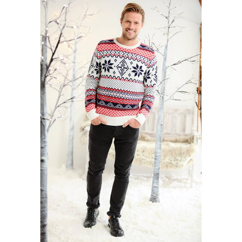Heren kersttrui met Noorse print M (40/50)