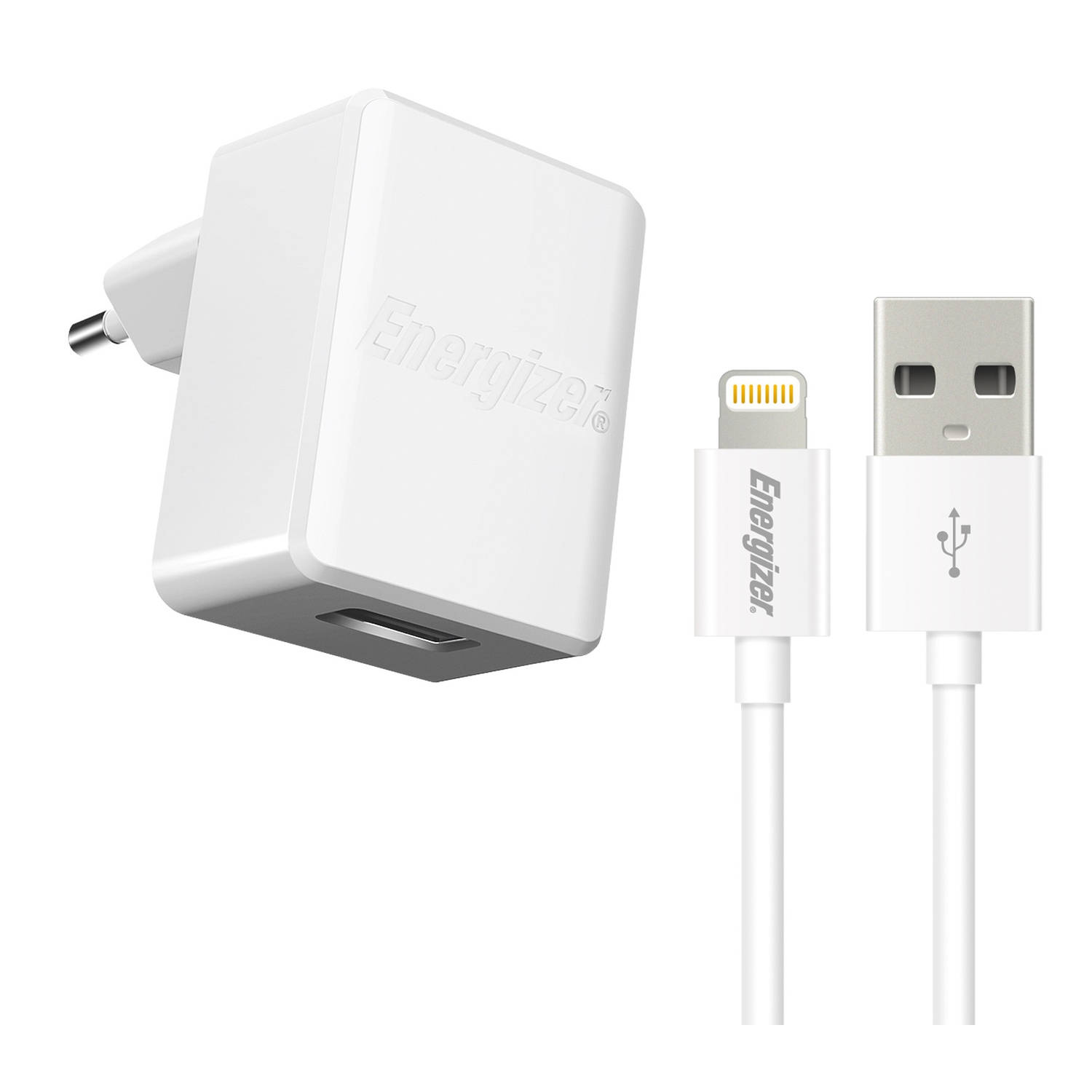 Energizer oplader 2.4A met Lightning-kabel iPhone-iPad wit
