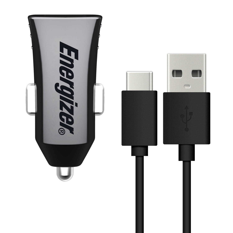 Energizer autolader dual USB 12/24V 2,4A met USB-C zwart