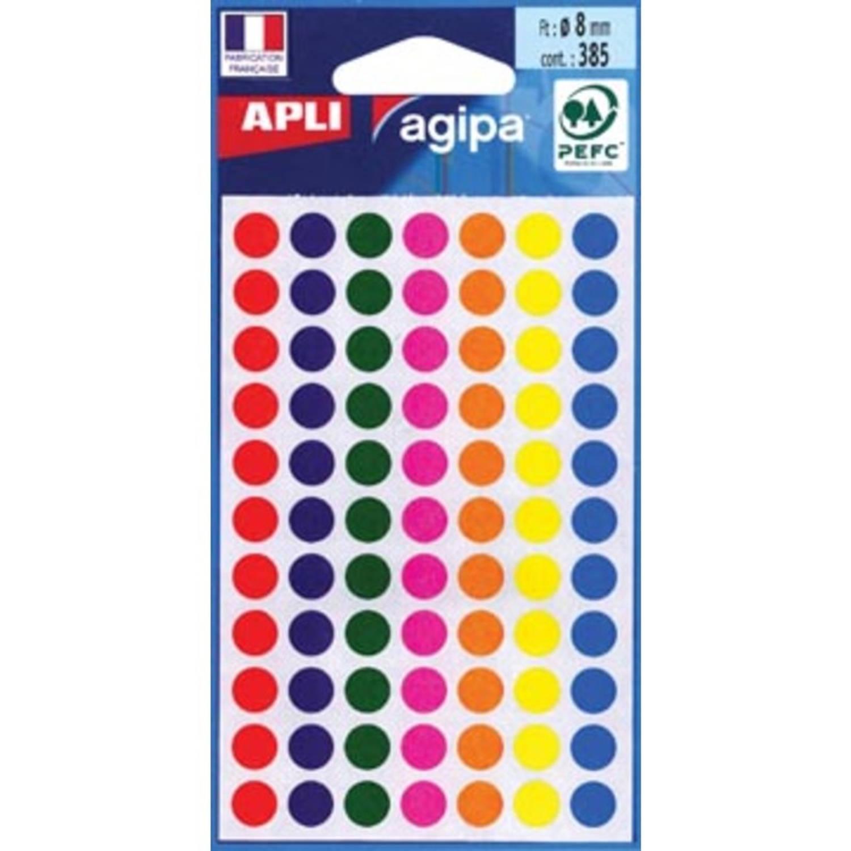 Korting Agipa Ronde Etiketten In Etui Diameter 8 Mm, Geassorteerde Kleuren, 385 Stuks, 77 Per Blad