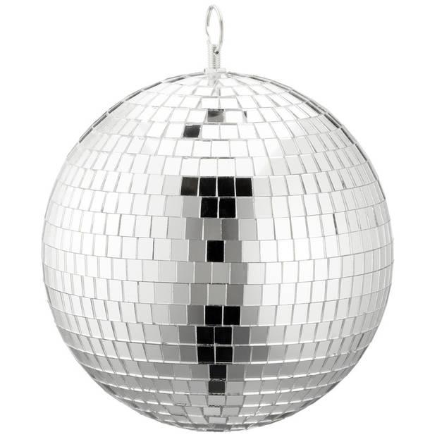 Disco spiegel bal/bol zilver 20 cm - Seventies disco party decoraties en versieringen