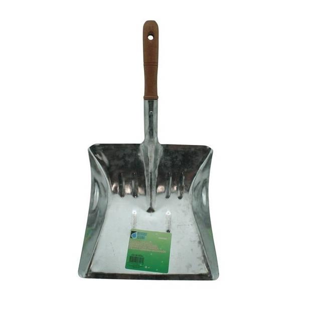 Stofblik verzinkt met houten steel - 22 cm - blik