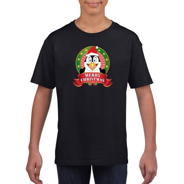 Kerst t-shirt voor kinderen met pinguin print - zwart - Kerst shirts voor jongens en meisjes S (122-128)