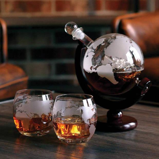 Globe Whiskey Decanter - 0.9L - Inclusief 2 glazen