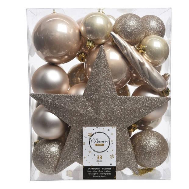 33x Champagne kunststof kerstballen 5-6-8 cm - Mix - Onbreekbare plastic kerstballen - Kerstboomversiering champagne