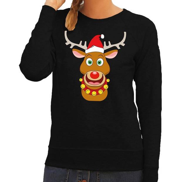 Foute kersttrui / sweater met Rudolf het rendier met rode kerstmuts zwart voor dames - Kersttruien S (36)