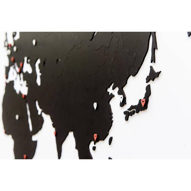 MiMi Innovations Luxe Houten Wereldkaart - Muurdecoratie - 180x108 cm - Zwart