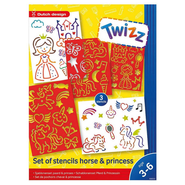 Twizz Sjablonenset paard en prinses 25 cm rood
