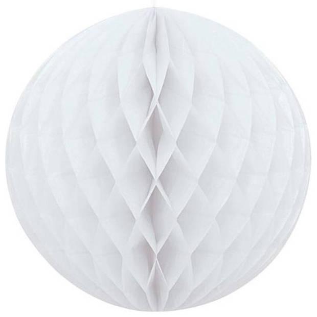 1x Papieren kerstballen wit 10 cm Kerstversiering - Kerstboomversiering - Kerstballen van papier