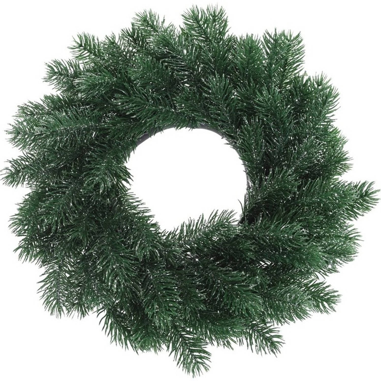Kunst kerstkrans blauwgroen 35 cm