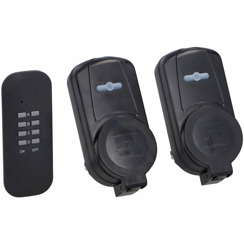 Grundig 3-delige contactdozen set met afstandsbediening