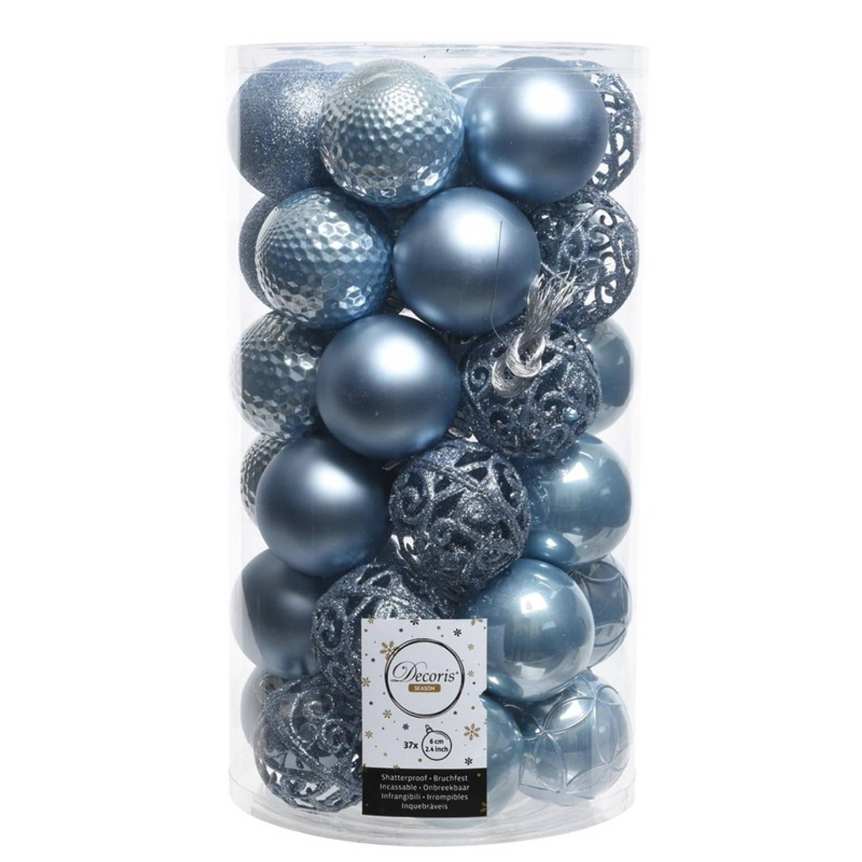 IJsblauwe kerstversiering kerstballen set kunststof 6 cm 36 stuks