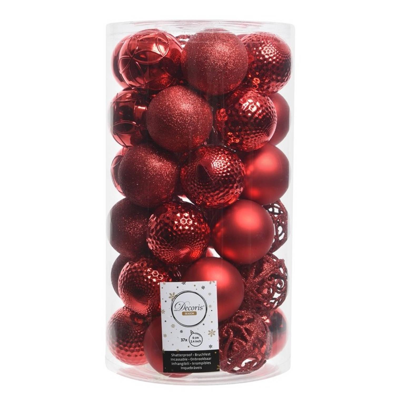 Rode kerstversiering kerstballen set kunststof 6 cm 36 stuks